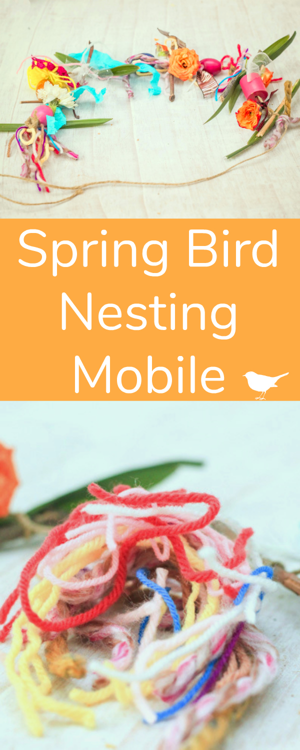 Spring Bird Nesting Mobile with Yarn Scraps