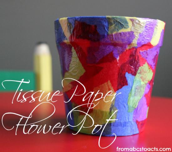 Tissue Paper Flower Pot