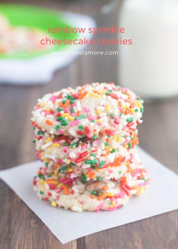 Rainbow Sprinkle Cheesecake Cookies