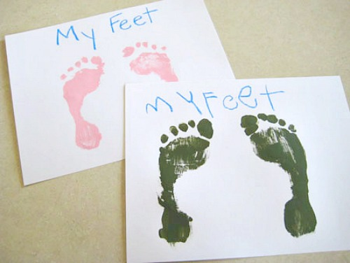 Stamping Feet with Paint for a Craft