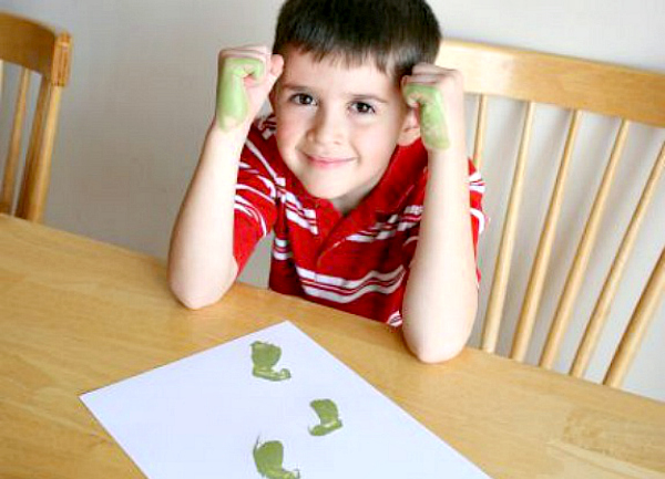 Stamping Leprechaun Feet with Kids Hands