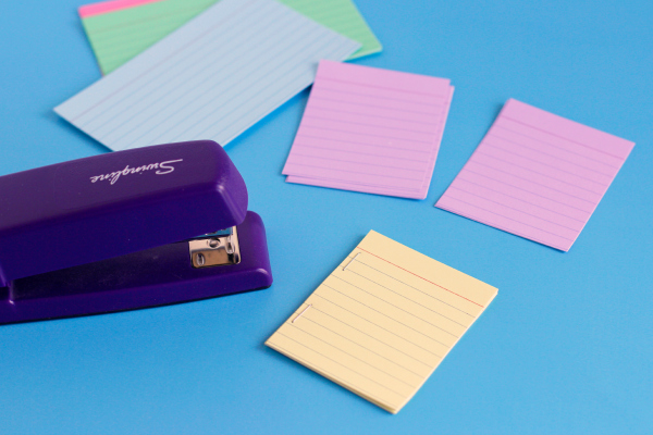 Stapling Index Cards for Sticker Story Starters