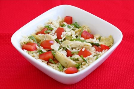 Summer artichoke orzo salad