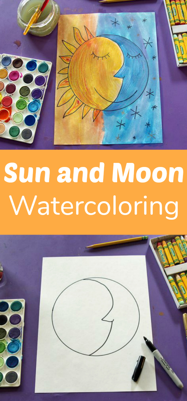 Sun and Moon Watercolor Project for Kids