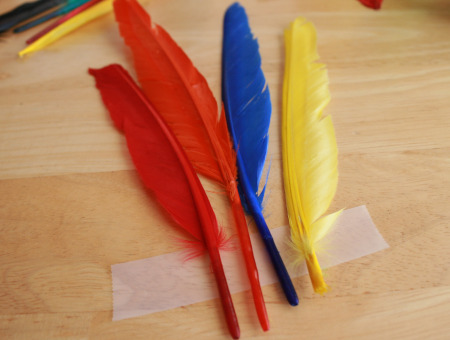 Taping Crafty Feathers