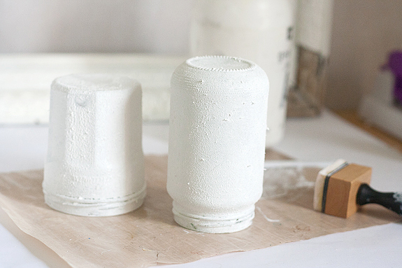 Textured Ombre Pen Cup and Vase Drying Gesso Texture