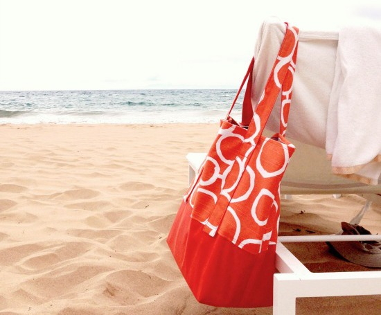 The Orange Circles Designer Beach Bag