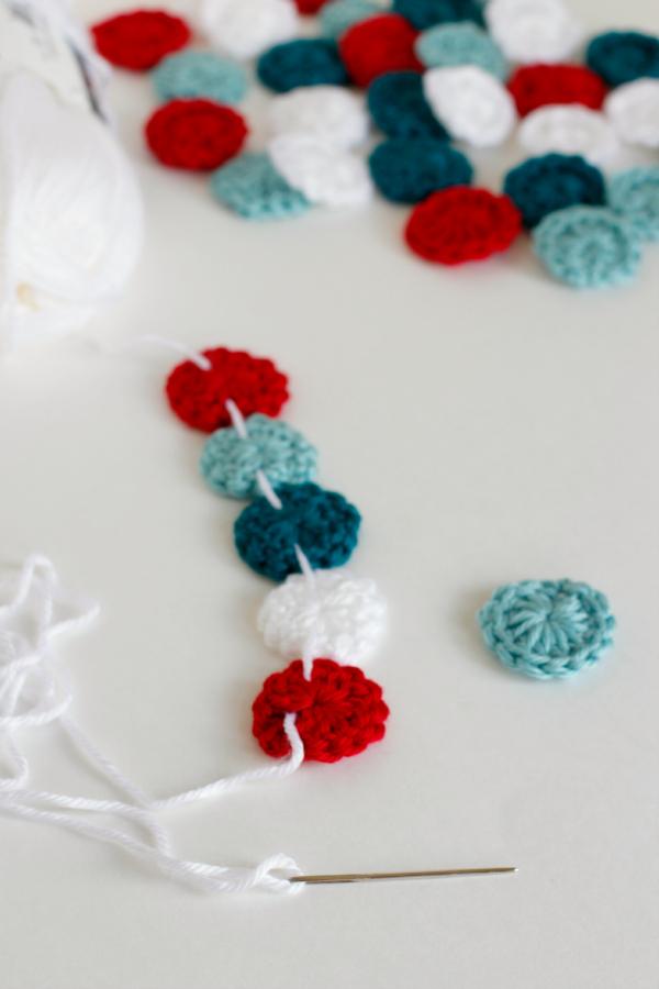 Threading Crochet Circles on a Garland