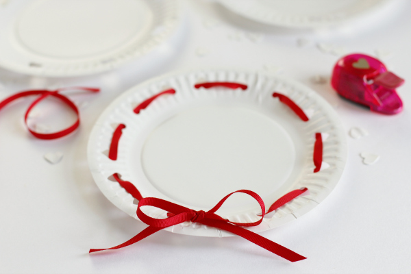 Threading Ribbon in Heart Hole Punch Valentine's Plates