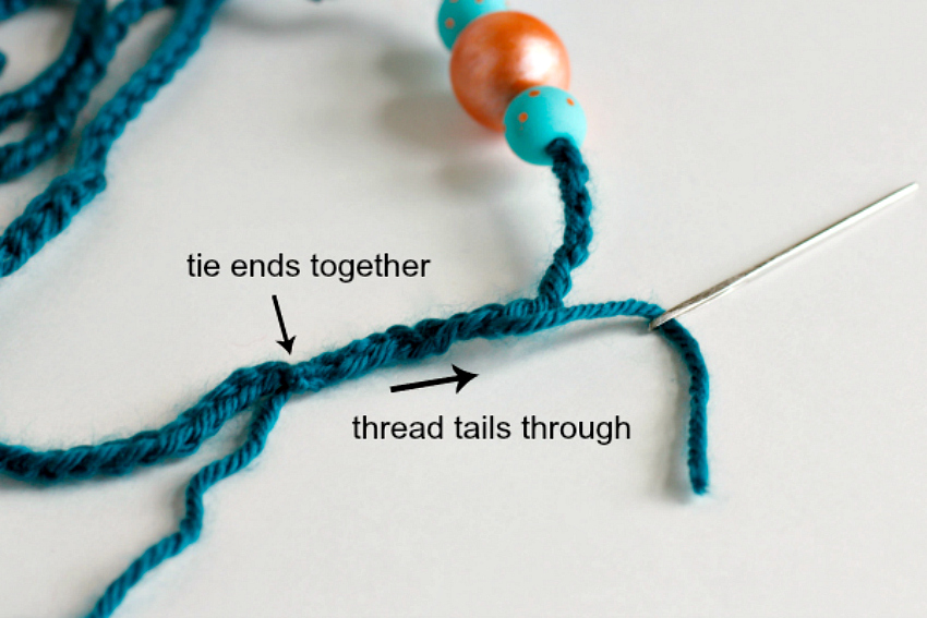 Threading Tails through Crochet Chain Stitch