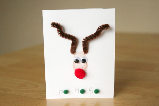 Thumbprint Stamped Reindeer Card