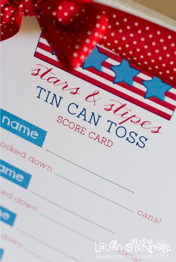 Tin Can Toss Game Score Card Printable