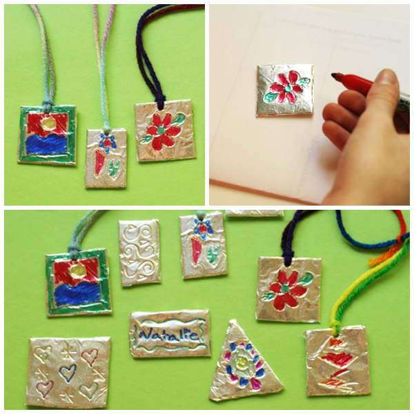Tin Foil Pendants with Marker Designs