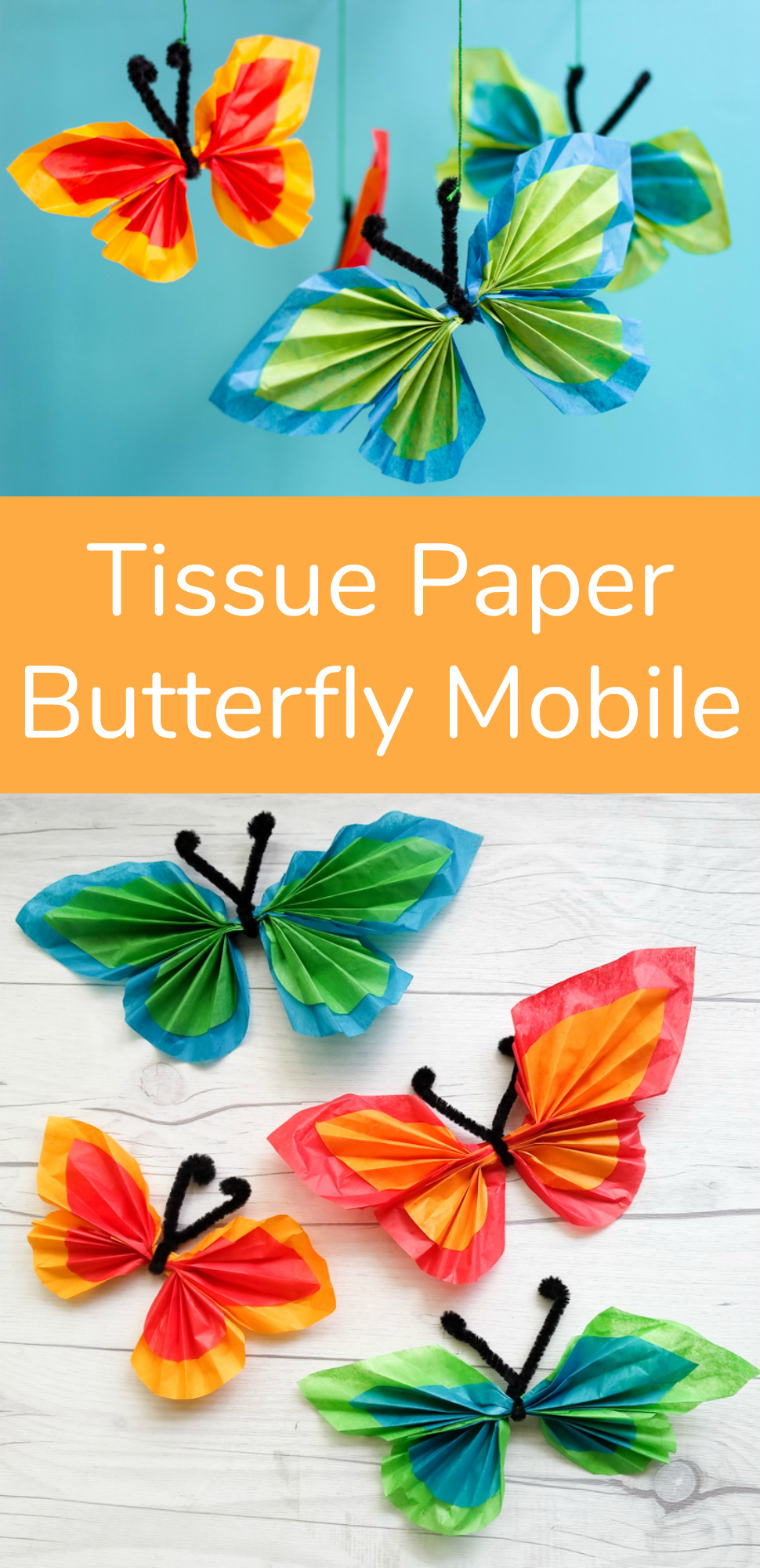 Tissue Paper Butterfly Mobile Kids Craft