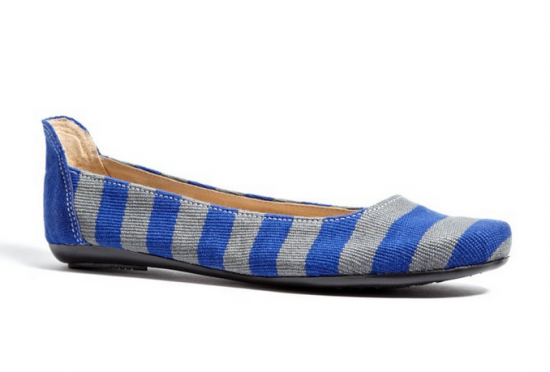 To The Market Blue Striped Ballet Flat