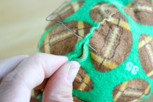 Toddler Fabric Football Sewing the Side
