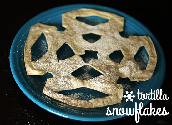Tortilla Snowflakes Snack @makeandtakes.com