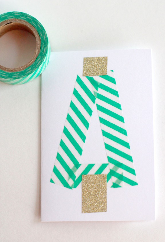 Triangle Washi Tape Trees @makeandtakes.com