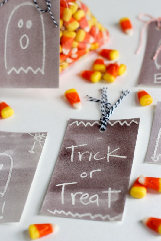Trick or Treat Watercolor Halloween Gift Tags