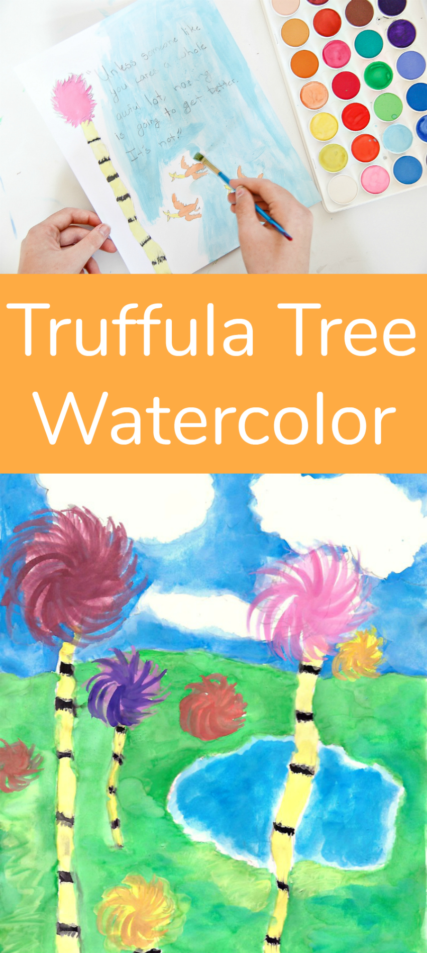 Truffula Tree Watercolor Art Project for kids
