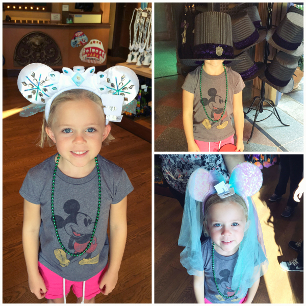 Trying on Hats at Disneyland