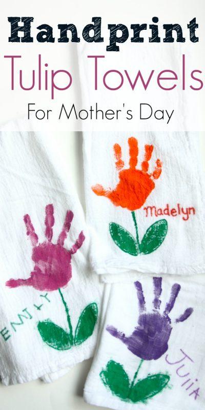 Handprint Tulip Towels