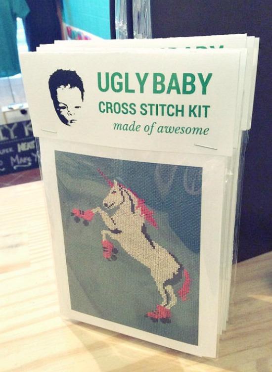Ugly Baby Unicorn Rollerskating Cross-stitch Kit