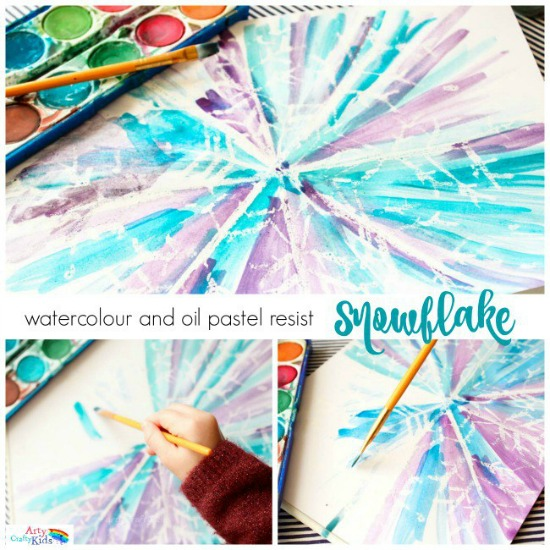 Watercolor and Oil Pastel Resist Snowflake