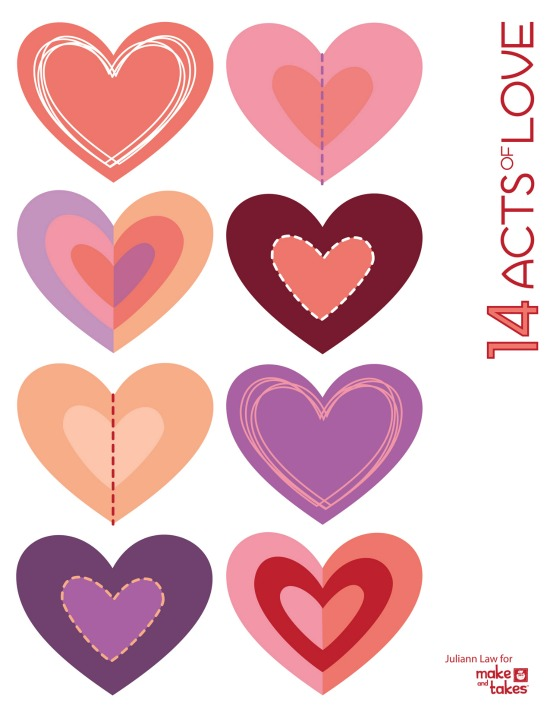 photograph about Hearts Printable referred to as Counting Down in the direction of Valentines with 14 Functions of Get pleasure from + a Cost-free