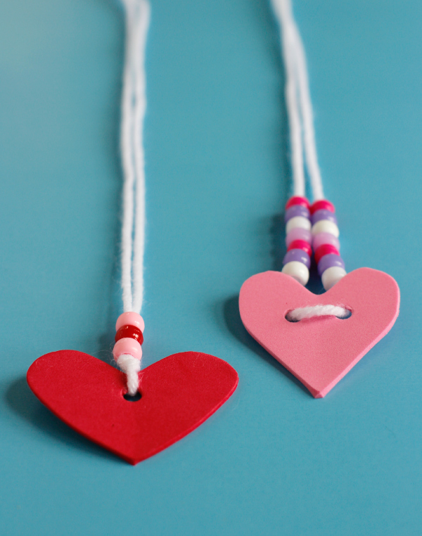 Valentine's Day Foam Heart Friendship Necklaces