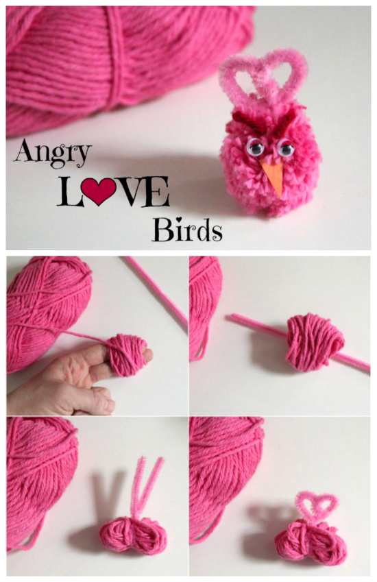 Valentine's Day Pom Pom Angry Birds Yarn Craft