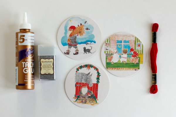 Vintage Coasters Turned Glitter Ornament Supplies
