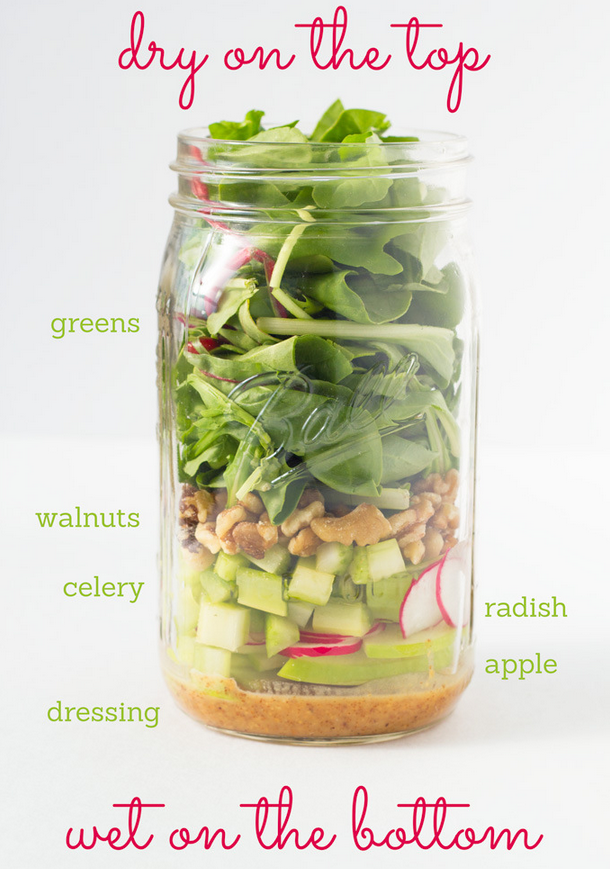 Walnut Apple Mason Jar Salad