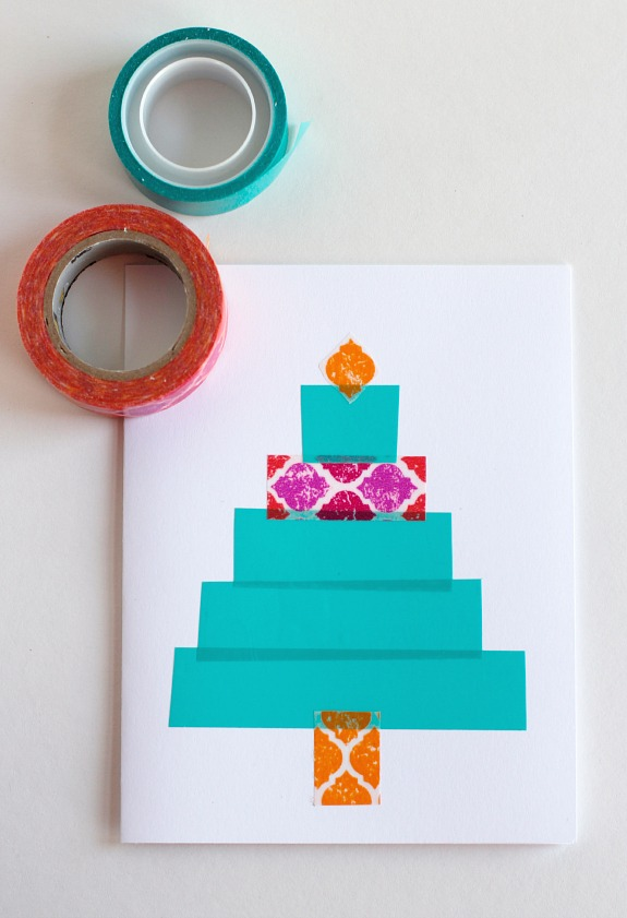 Washi Tape Christmas Trees @makeandtakes.com