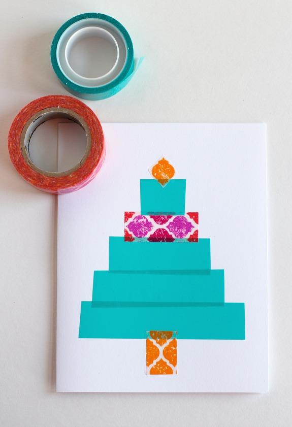 Washi Tape Christmas Trees @makeandtakes.com