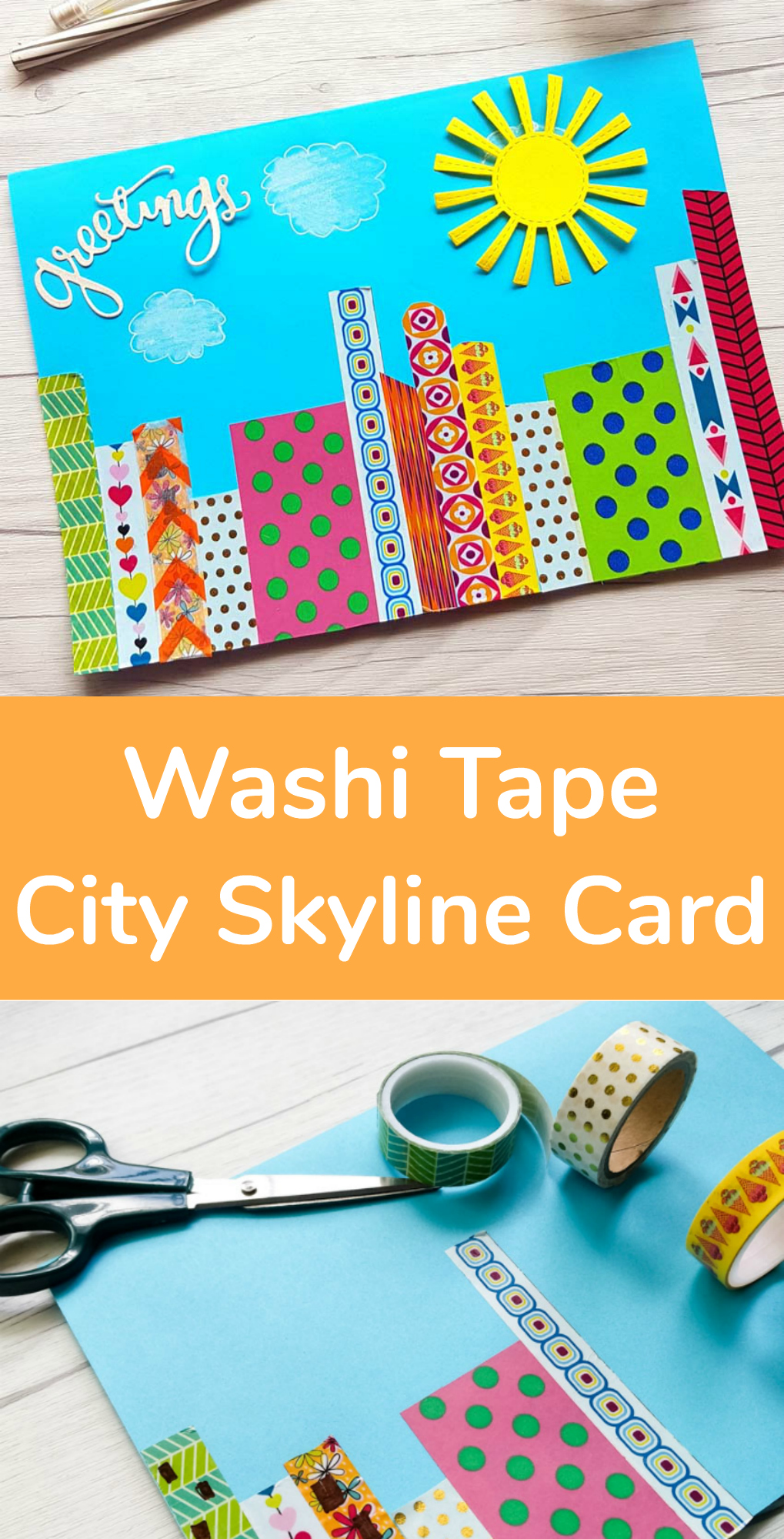 Washi Tape City Skyline Greeting Card