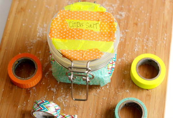 Washi Tape Decorated Jars with Salt Scrub
