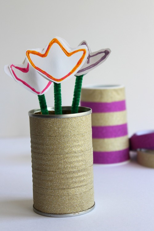 Washi Tape Flower Vase for Earth Day makeandtakes.com