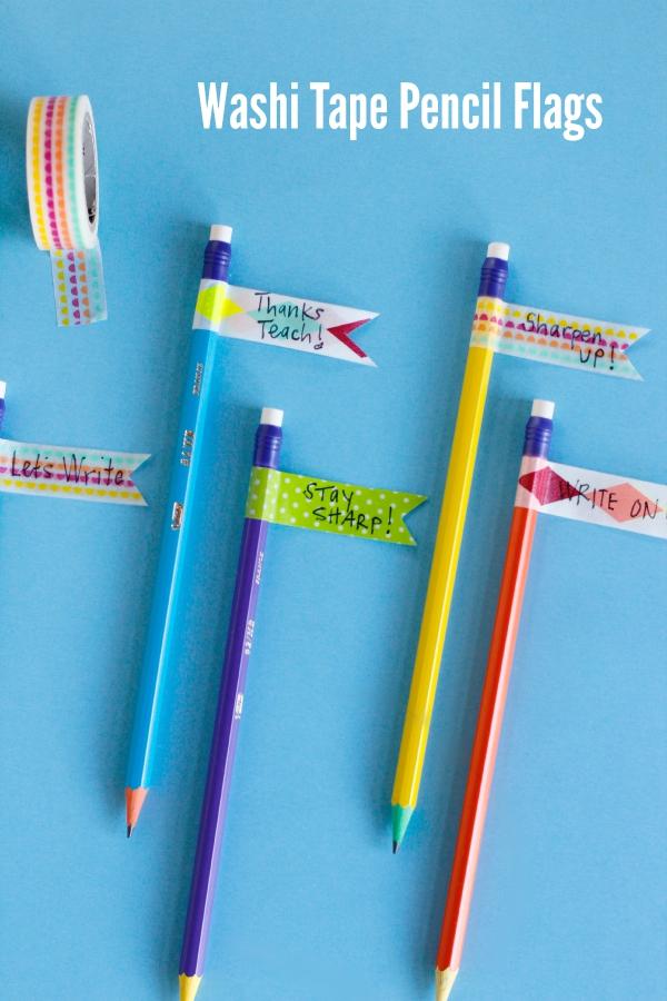Washi Tape Pencil Flags Teacher Gift