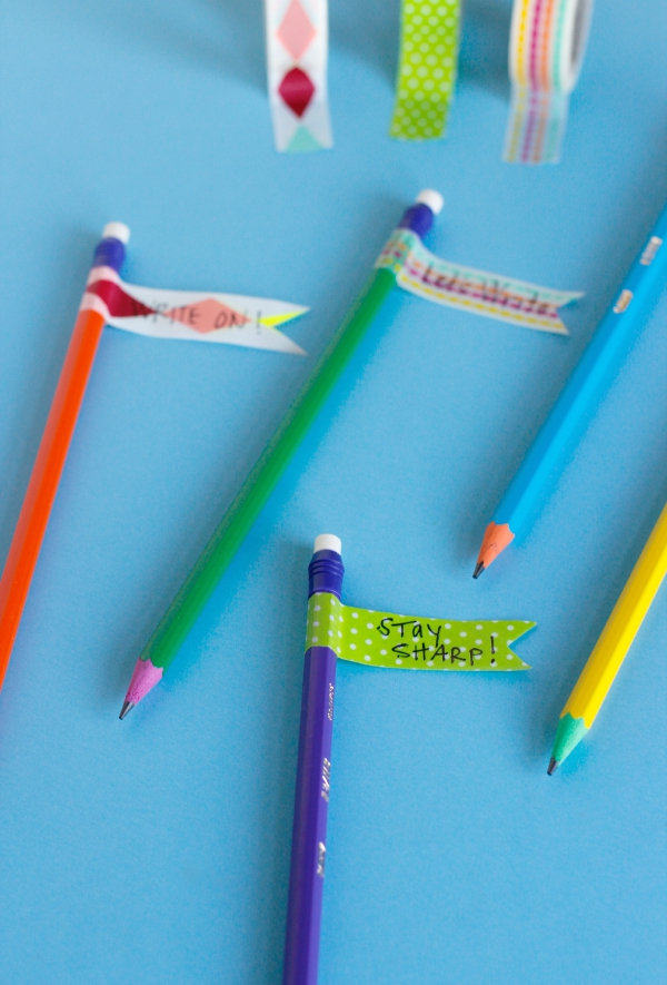 Washi Tape Pencil Flags to Make