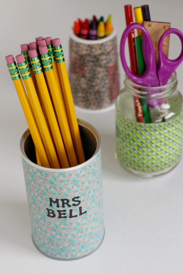Washi Tape Pencil Holders @makeandtakes