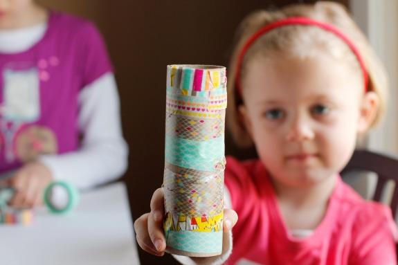 Washi Tape Recycled Paper Tubes Kids Craft .jpg