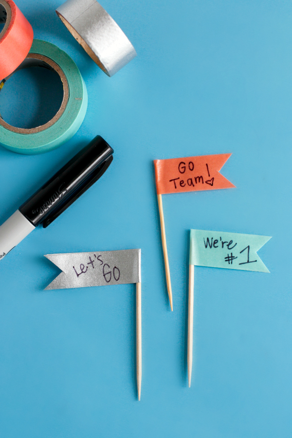 Washi Tape Toothpick Flags for Game Day Snacks