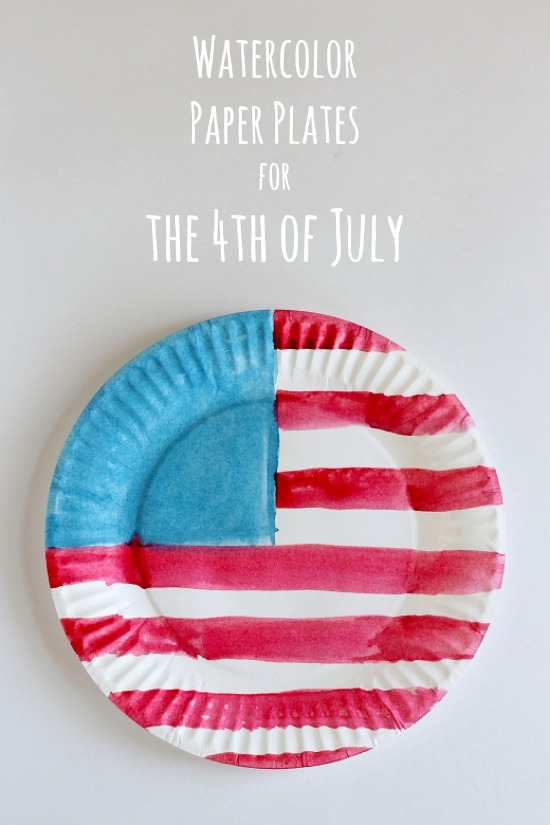 Watercolor American Flag Paper Plates for the 4th of July