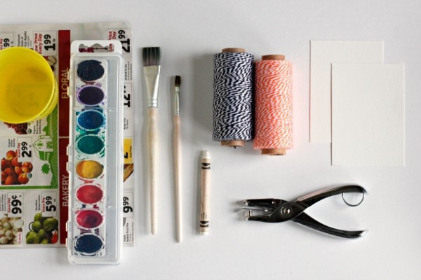 Watercolor Ghost Tag Supplies @makeandtakes.com