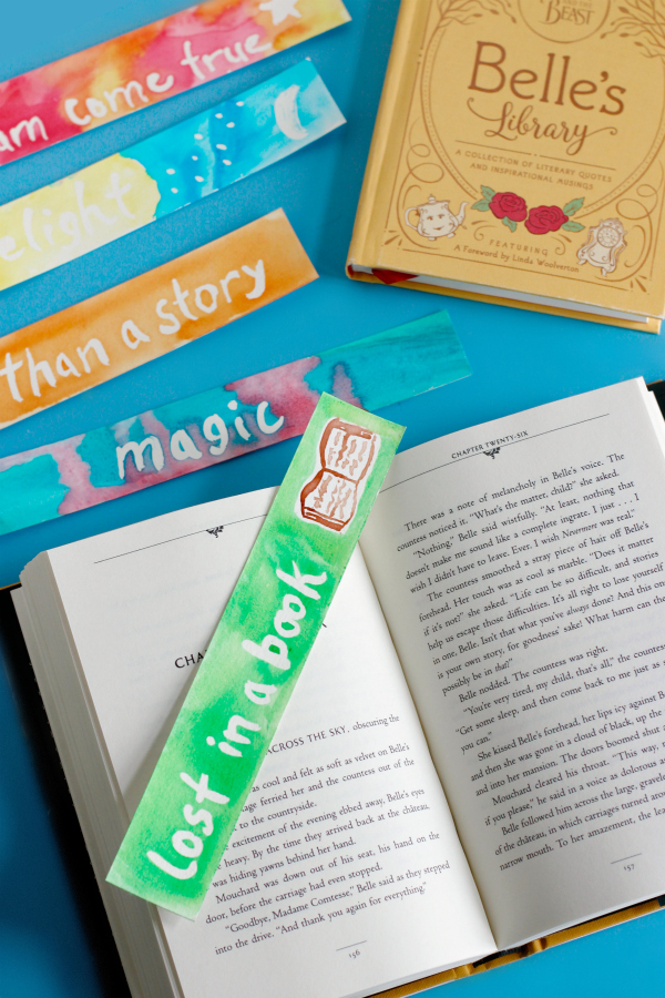 Making watercolor bookmarks inspired by the book