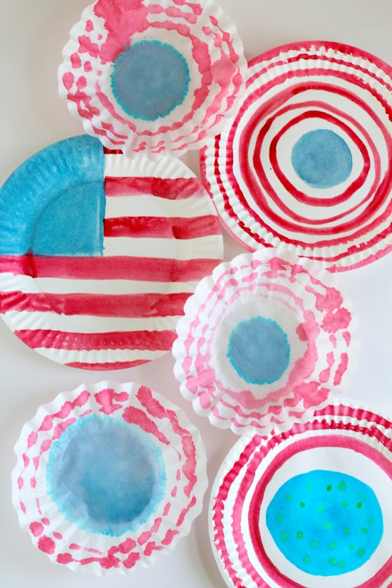 Watercolor Paper Plates with an American Flag for the 4th of July