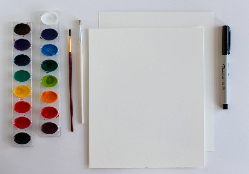 Watercolor Place Card Supplies