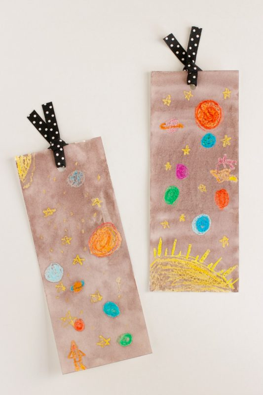 watercolor outer space bookmarks make and takes