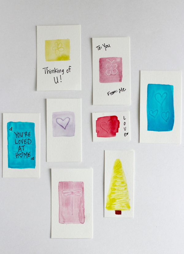 Watercoloring Gift Tags with Indent Brush Designs